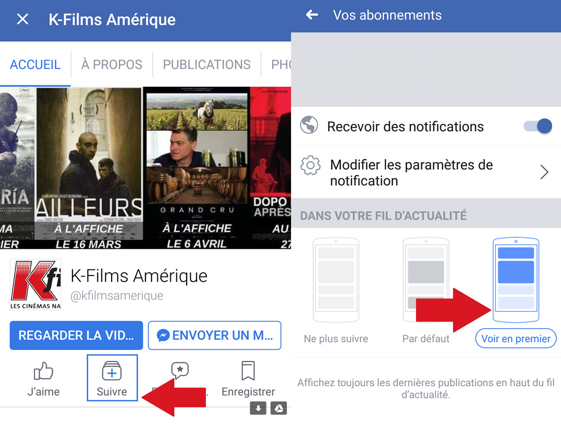 Facebook mobile KFilms Amerique